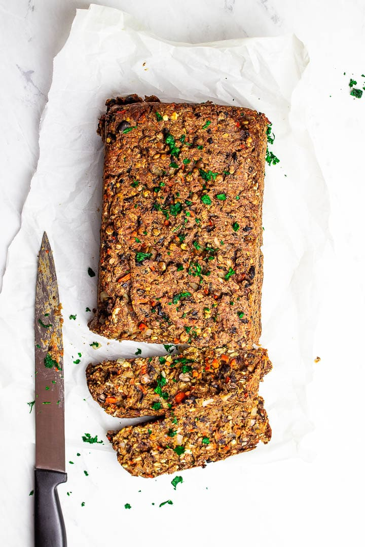 Gluten-free vegan meatloaf with lentils, black bens, mushrooms and oats