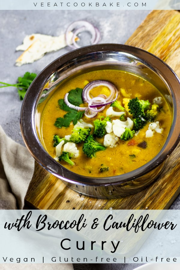 vegan curry with broccoli and cauliflower