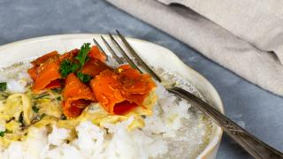 Vegan Cream Savoy Cabbage with carrot salmon and rice