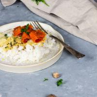 Veganer Rahmwirsing mit Karottenlachs und Reis