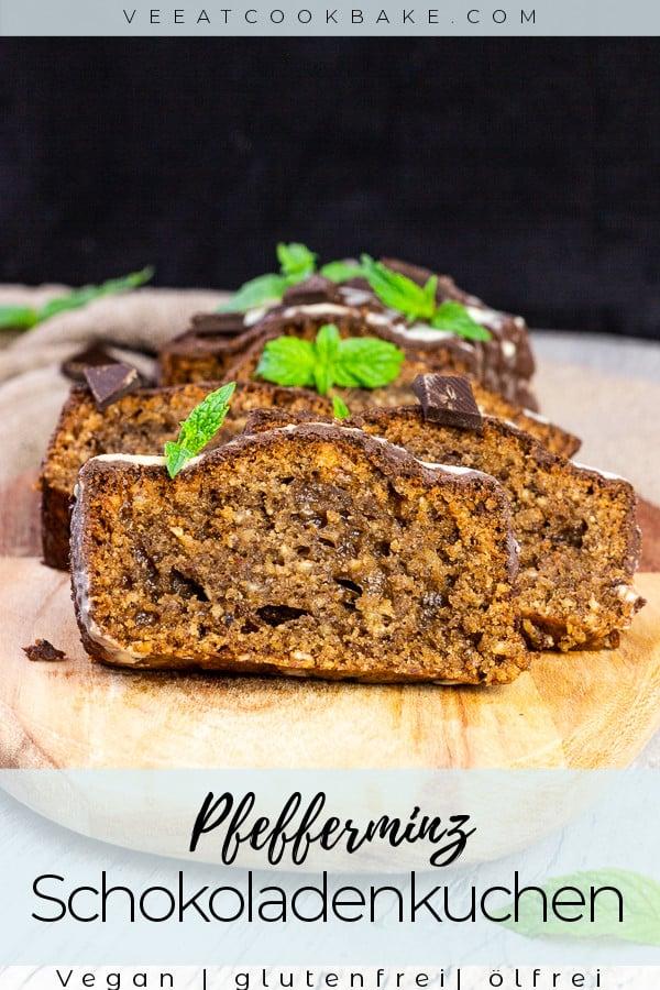 veganer schokoladenkuchen mit pfefferminz und haselnüssen