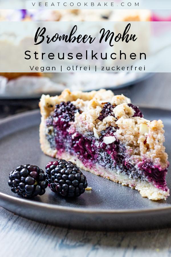 Veganer Streuselkuchen mit Brombeeren und Mohn