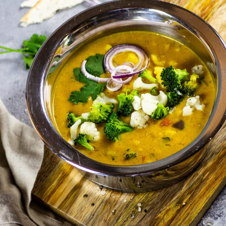 Vegan Yellow Curry with Broccoli and Cauliflower