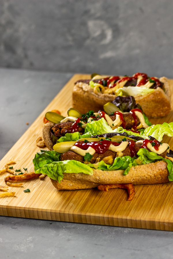 vegan italian sausage in a bun