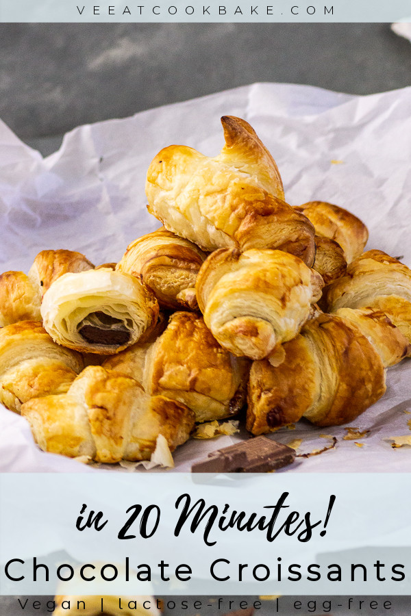 chocolate croissants on parchment paper with text layover