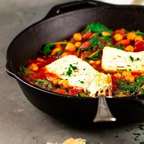 Vegan Feta Chickpea Spinach Skillet Shakshuka Style