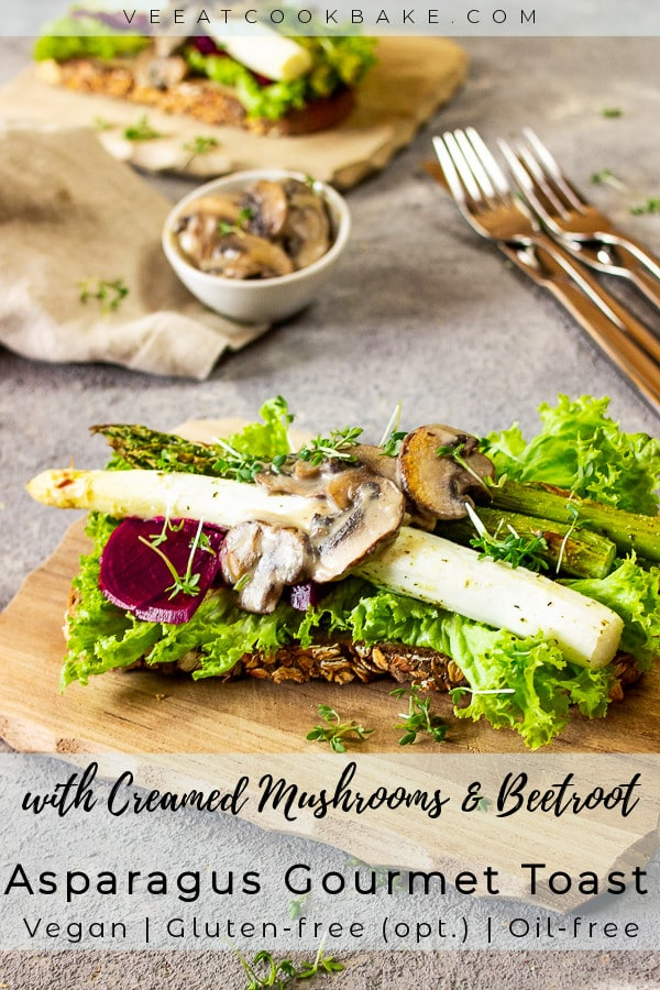 vegan gourmet toast with asparagus, red beet and creamed mushrooms