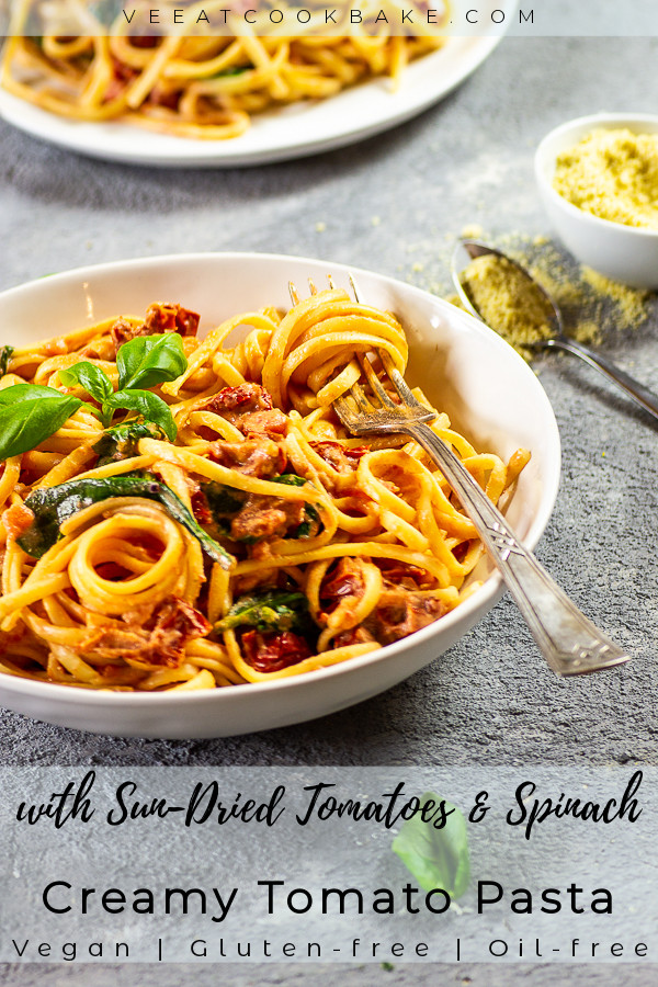 vegan pasta with tomato afredo sauce and sun-dried tomatoes