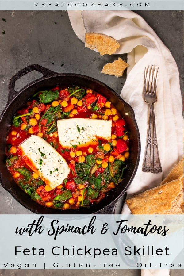 vegan feta chickpea skillet with spinach