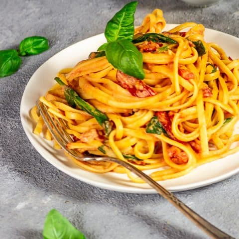Creamy, vegan Pasta With Tomato Alfredo Sauce and Sun-dried Tomatoes and Spinach