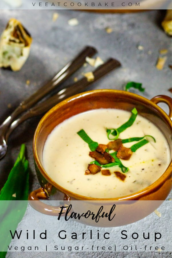 vegan wild garlic soup with coconut bacon-parsley-pinwheels