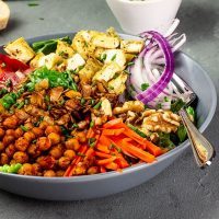 American, Vegan Cobb Salad with Oil-Free Tahini - Red Wine Vinegar - Dressing