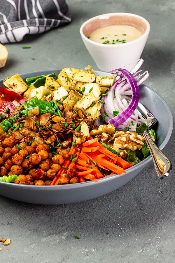 american vegan cobb salad with oil-free tahini red wine vinegar dressing