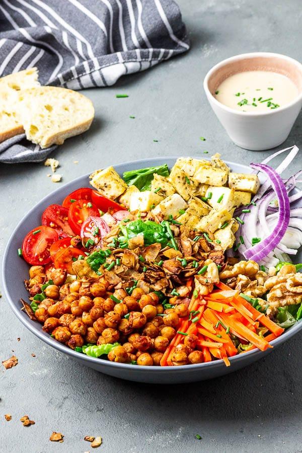 american vegan cobb salad with oil-free tahini red wine vinegar dressing