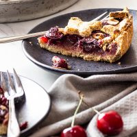 Homemade Healthy Vegan Cherry Pie with Whole Grains