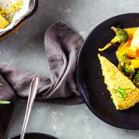 Easy Savory Vegan Cornbread with Whole Grain Rosemary with Southwestern Veggie Bake