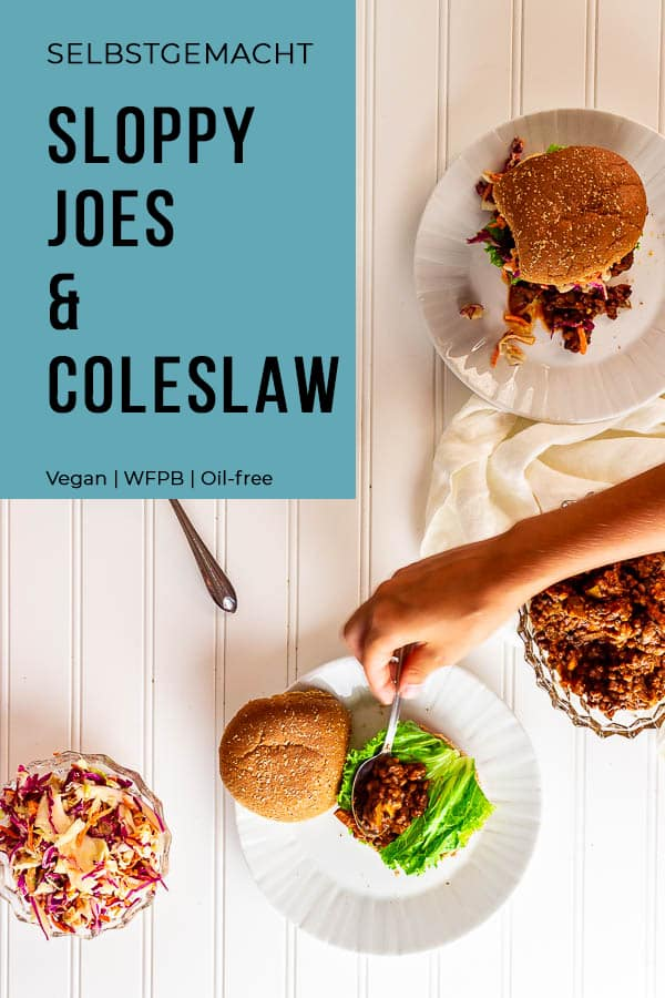 veganer Sloppy Joe's mit Tahini Krautsalat (Coleslaw)