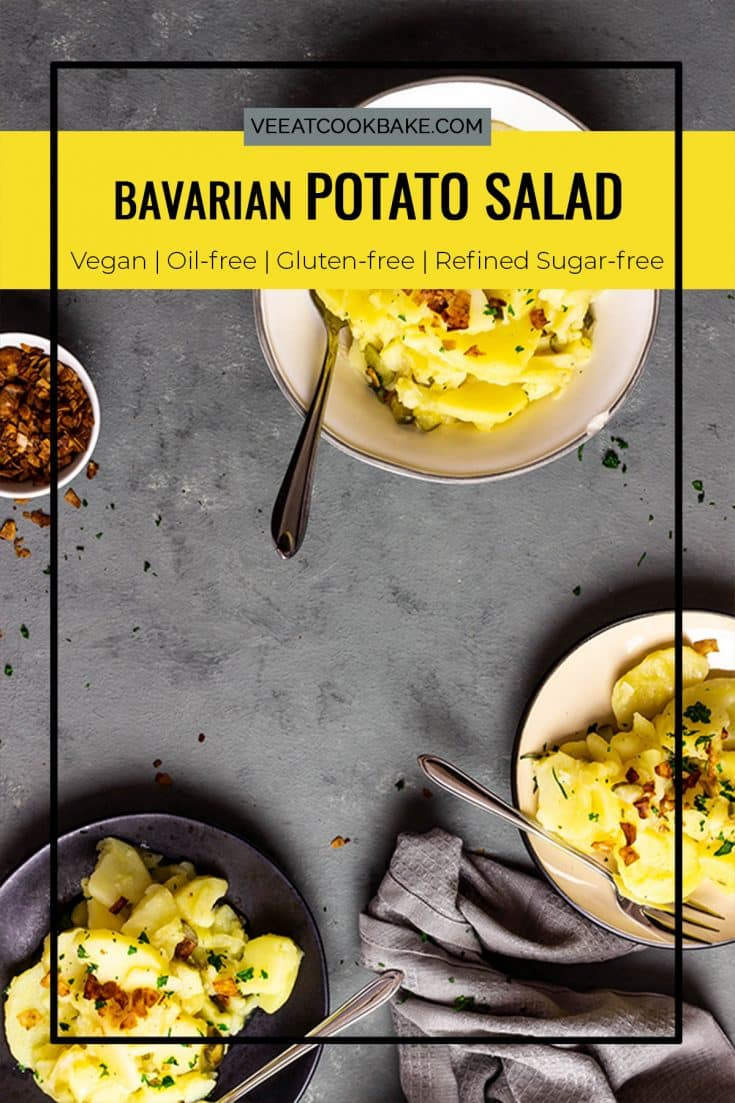 Bavarian vegan potato salad - who does not love potato salads at barbecues, picnics or other events ?!  And this Bavarian vegan potato salad will not miss the spot in any way a traditional potato salad (with oil, Mayo) does.  Thanks to the strong vegetable broth and the remaining ingredients, the salad comes out completely without oil and tastes smoky and full of flavor.   Vegan |  Vegetarian |  oil-free |  gluten free