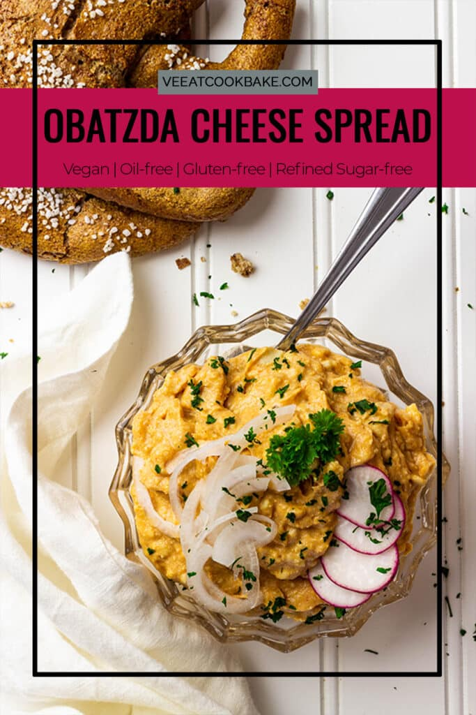 vegan obatzda, a wfpb cheese spread in a bowl with pretzels