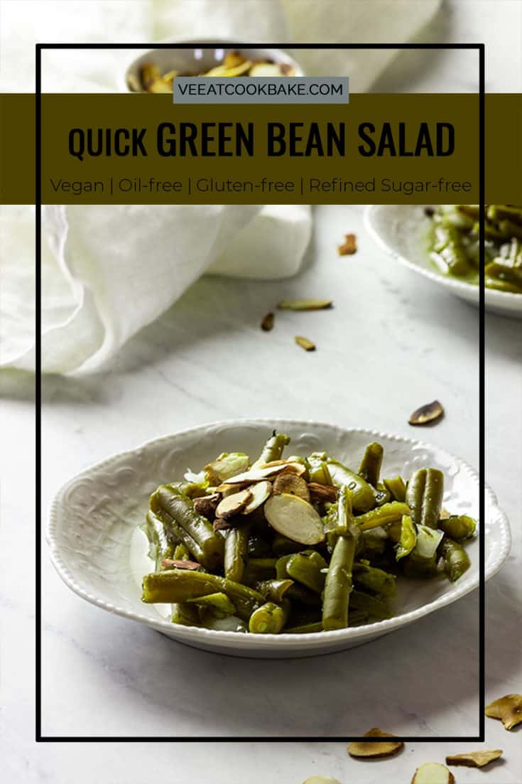 How to make a quick, cold,  vegan green bean salad. This recipe is a healthy green bean salad without oil. You can use canned or fresh green beans and you need just 7 ingredients. dairy-free, whole food plant-based, gluten-free #vegansalad #veganthanksgiving #veganside #greenbeans