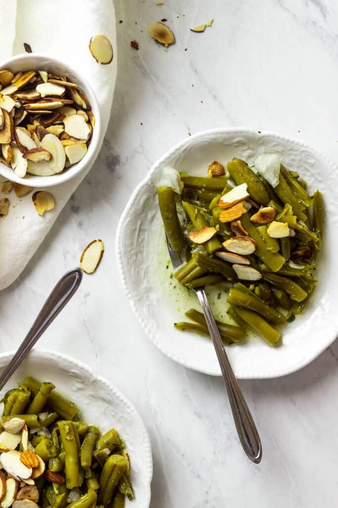 veganer grünen bohnensalat