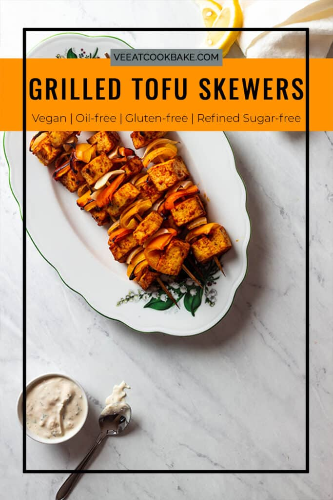 pin for oil-free vegan grilled tofu skewers
