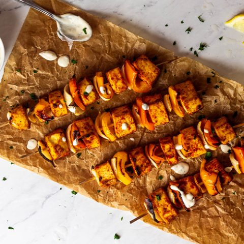 Vegan Grilled Tofu Skewers (oil-free)