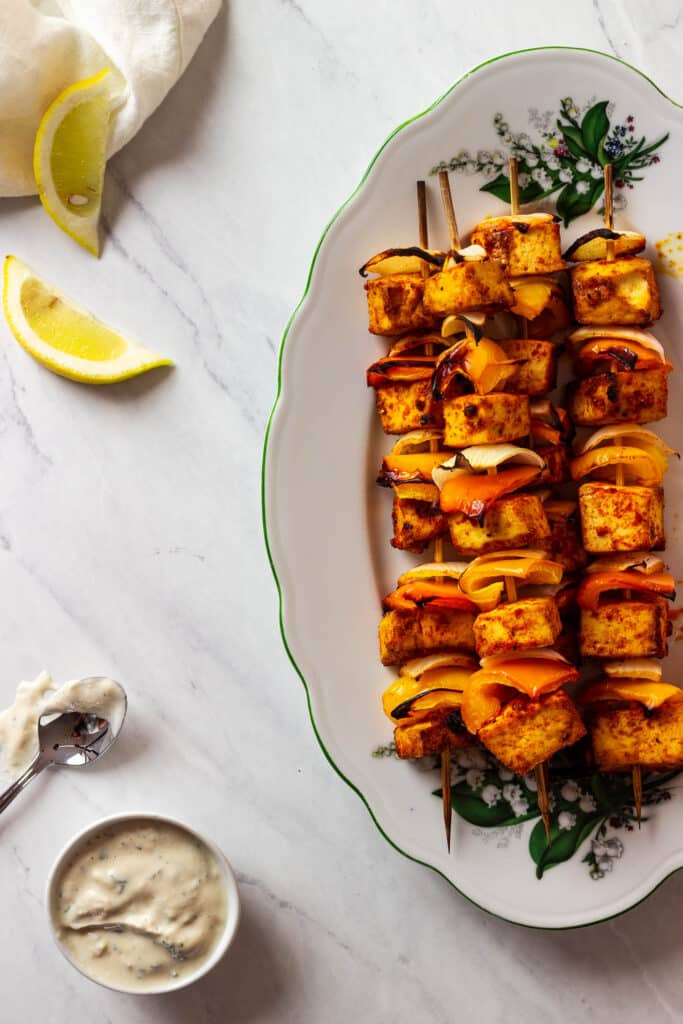 vegan grilled tofu skewers wfpb