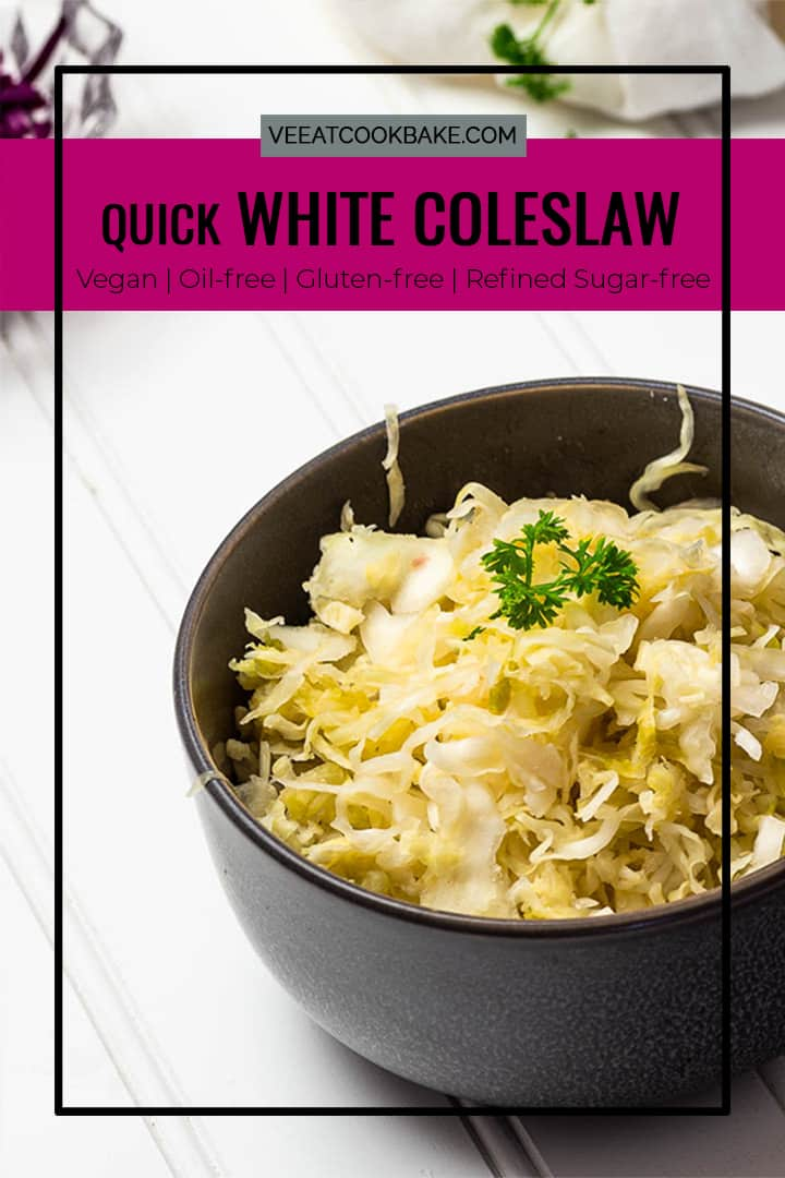 Vegan white coleslaw with vinegar dressing - a simple recipe for a quick salad that tastes amazing. This vitamin C bomb, thanks to the crisp white cabbage, should not be missing in the autumn and winter cuisine. Prepare this white cabbage salad as a side dish for your Sunday lunch or as a quick midweek dish.