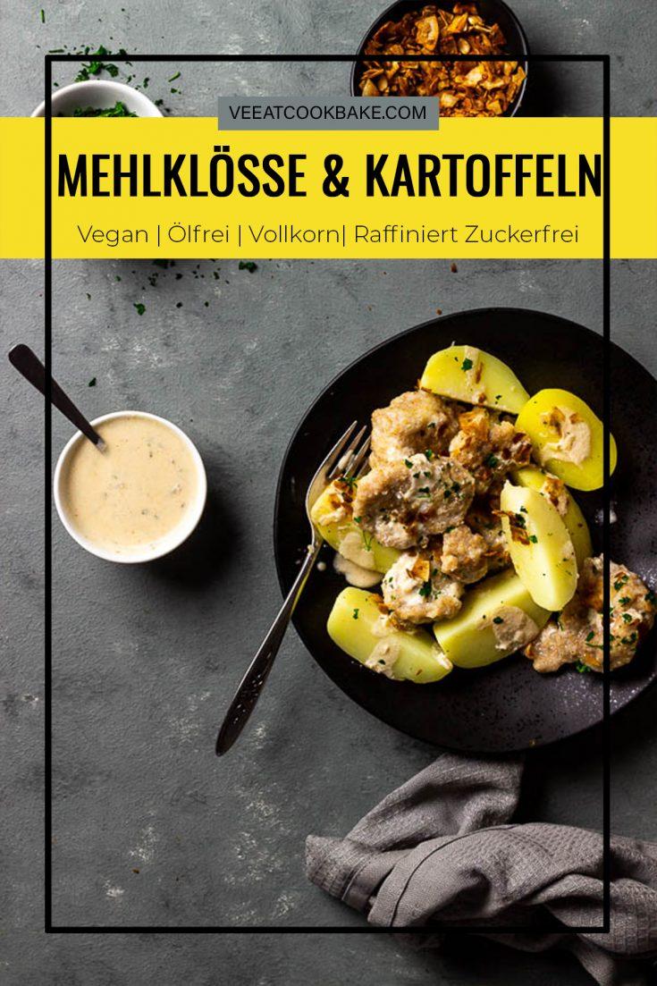 Geheiratete eine aus dem Saarland inspirierte Spezialität mit veganen Mehlklößen und Kartoffeln in einer Rahmsoße. Dieses einfache Rezept wird in Handumdrehen mit Zutaten aus deinem Vorratsschrank zubereitet und ist ein perfektes Abendessen für unter der Woche. vegan   milchfrei   lactosefrei   eifrei   vegetarisch   ölfrei   vollwertig  veeatcookbake.com