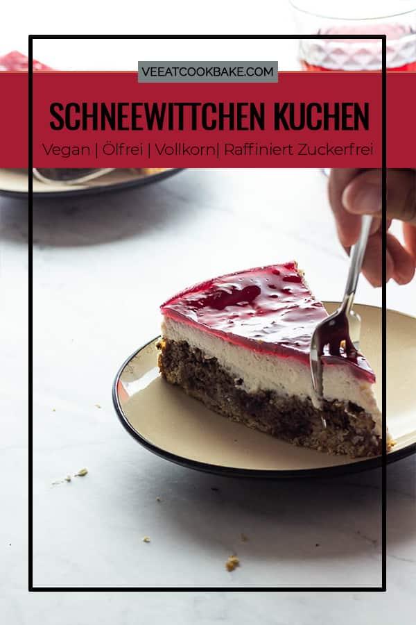 Veganer Schneewittchenkuchen mit Kirschen, Schokolade und selbstgemachten Tortenguss aus Agar