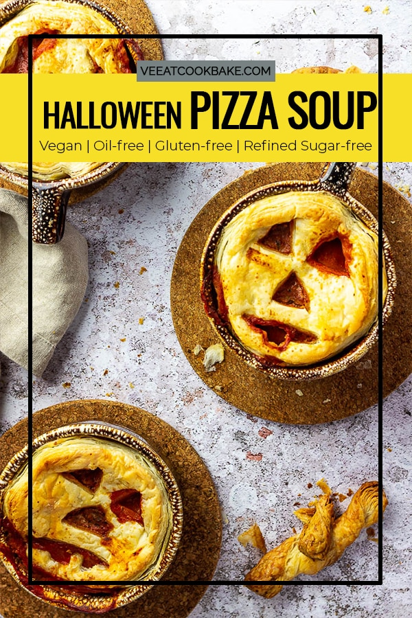 Vegan Pizza Soup for your next Halloween Party as an Appetizer or Main Dish.