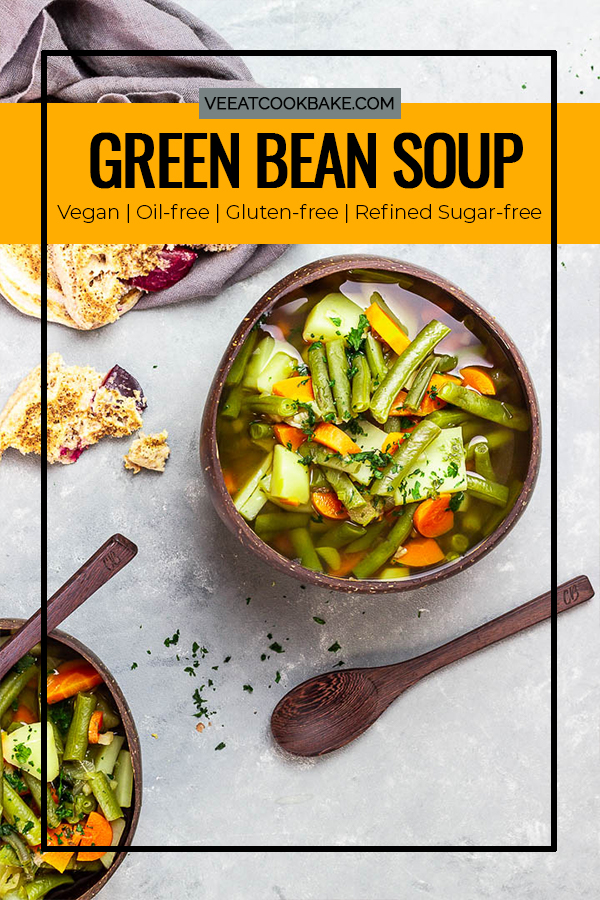 Vegan Green Bean Soup with carrots and potatoes simmered in a homemade quick veggie broth to make this cozy and flavorful easy green bean stew. A delicious, healthy and super easy recipe to make. It works as a side or serve with some plum pancakes as a main dish. Perfect for Thanksgiving or Christmas. #greenbreans #germanfood #veganrecipes #healthyrecipes #beansoup #vegansoup