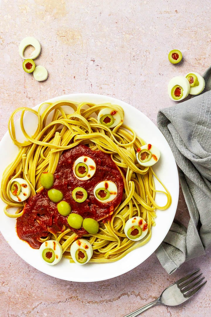 vegan halloween dinner spaghetti with eyes