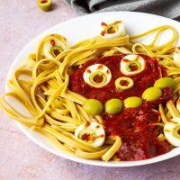 Vegan Halloween Spaghetti with Eyes