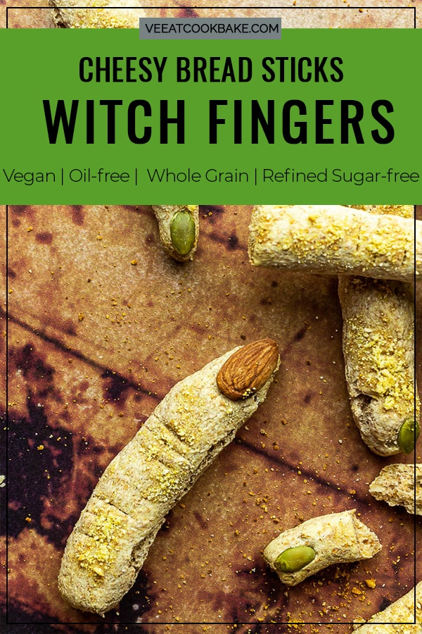 Halloween Bread Sticks in shape of witch fingers with vegan parmesan cheese and Almond / Pumpkin Seed Fingernails. Crunchy Fluffy Bread Sticks made of whole spelt / wheat pizza dough. Photo with text