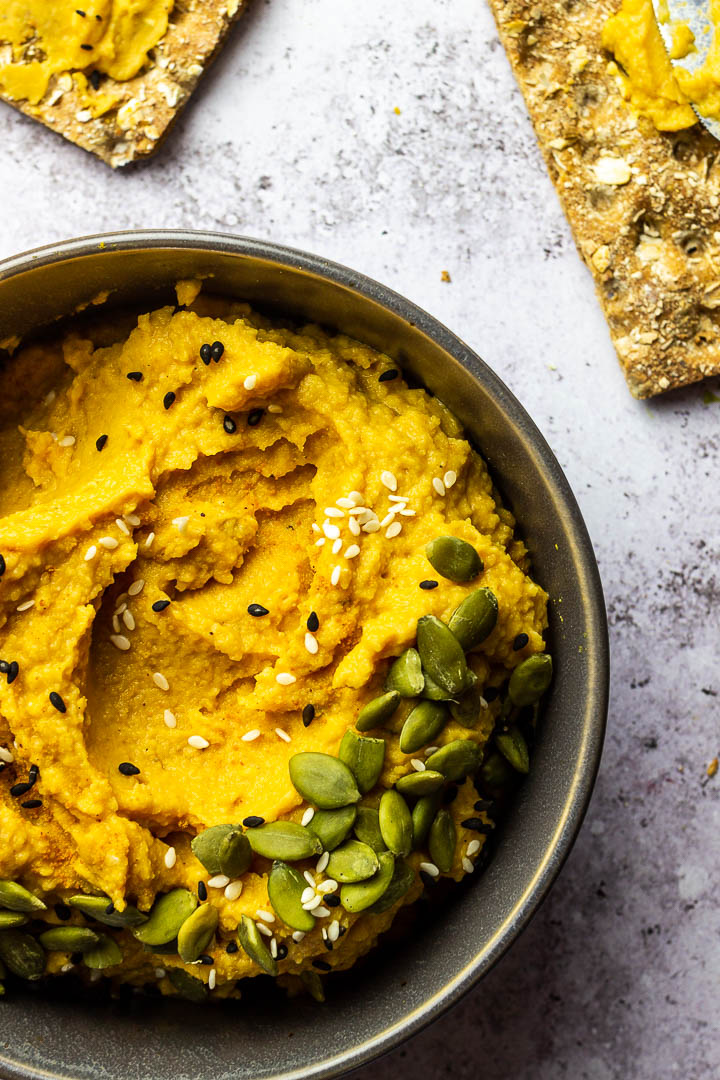 Savory Vegan Pumpkin Hummus with cooked Chickpeas, pureed Pumpkin, Mace, Nutmeg for a wfpb Dip or Spread. Perfect as an appetizer on Thanksgiving