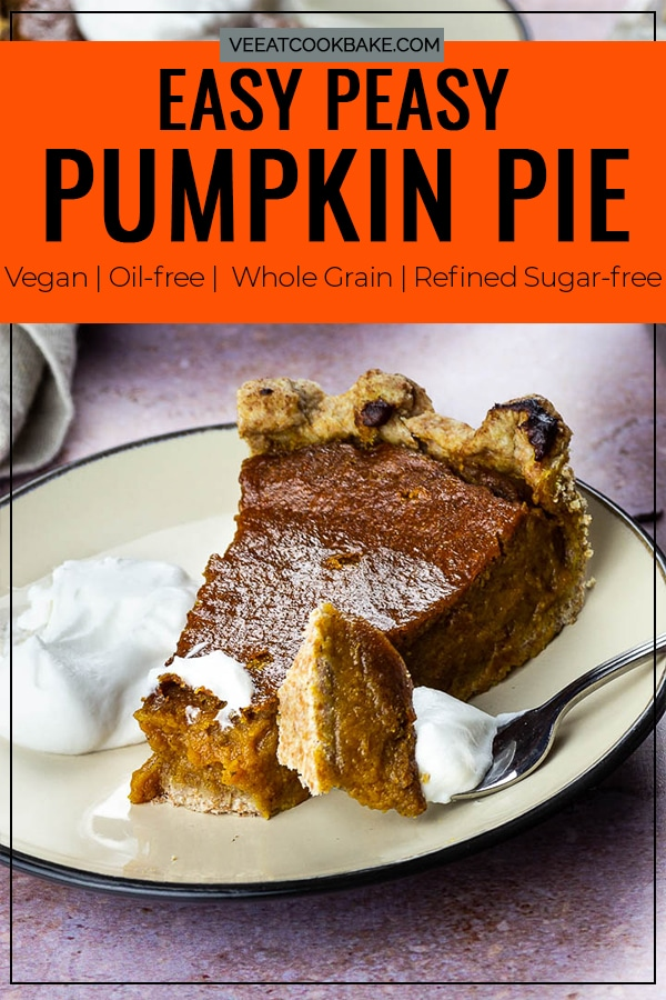 Vegan Pumpkin Pie Slice on a Plate with Whipped Coconut Cream for a Thanksgiving Dessert. Pin for Pinterest