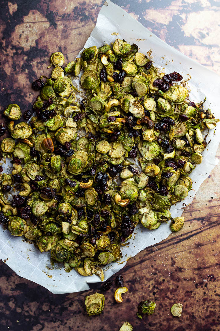 Roasted Vegan Balsamic Tahini Brussel Sprouts with Cranberries (oil-free, gluten-free) perfect thanksgiving side dish.