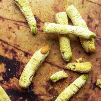 Witch Finger Cheese Breadsticks (vegan, wfpb) for Halloween
