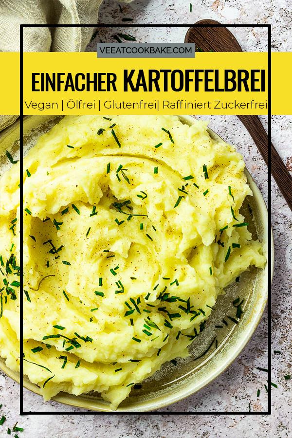 Super cremig veganer Kartoffelbrei (Kartoffelpürree) ohne Butter, Magarine oder Öl. Geschmackvoll mit Muskat und optional geröstetem Knoblauch.