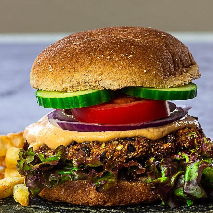 Grillable vegan Black Bean Burger Recipe