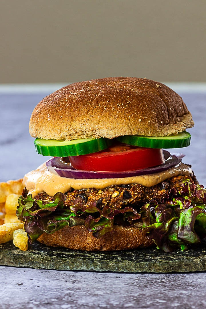 Vegan black Bean Burger with Veggies and a burger sauce without mayo