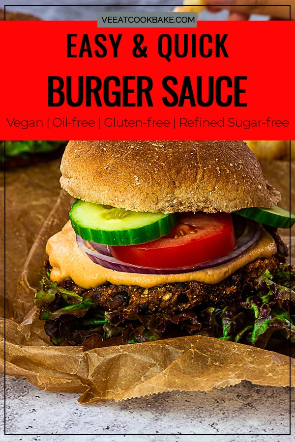Vegan Burger Sauce made with Cashews and Tomato Paste and other ingredients