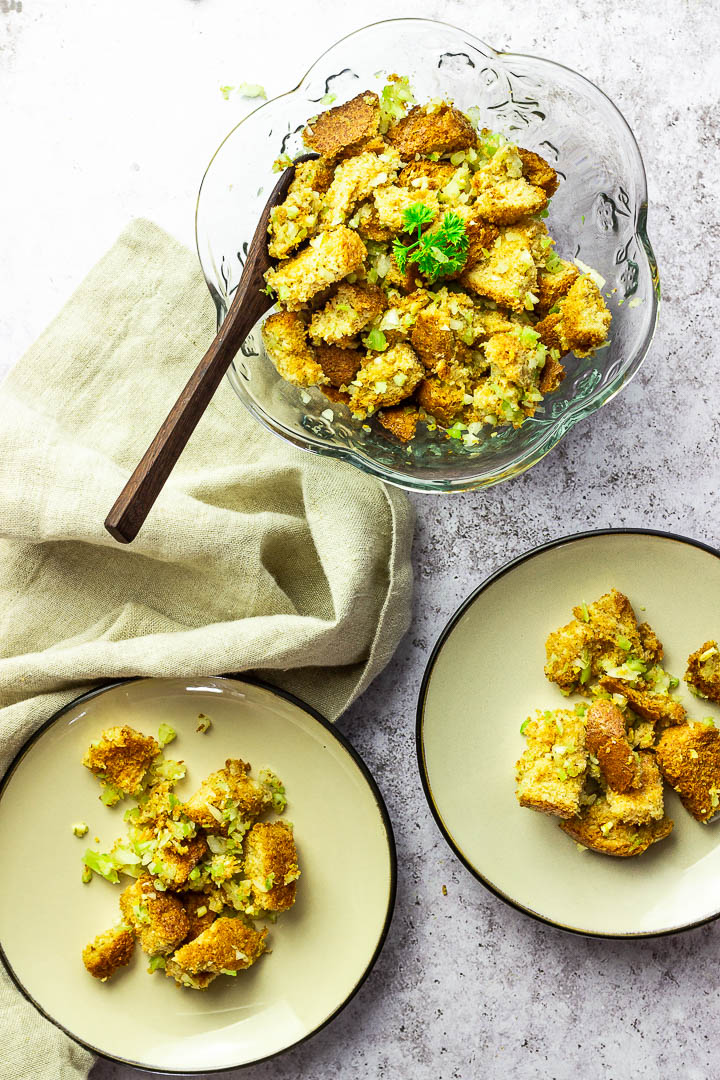 Easy Classic Stuffing made in vegan. With celery, onions, whole grain bread and veggie broth