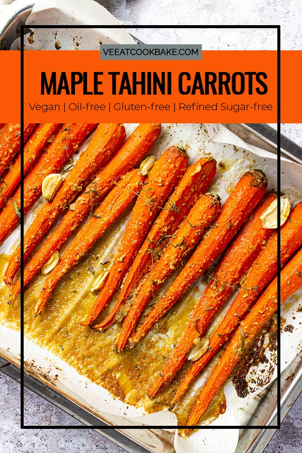 Vegan Maple Glazed Carrots made without oil in a pan.