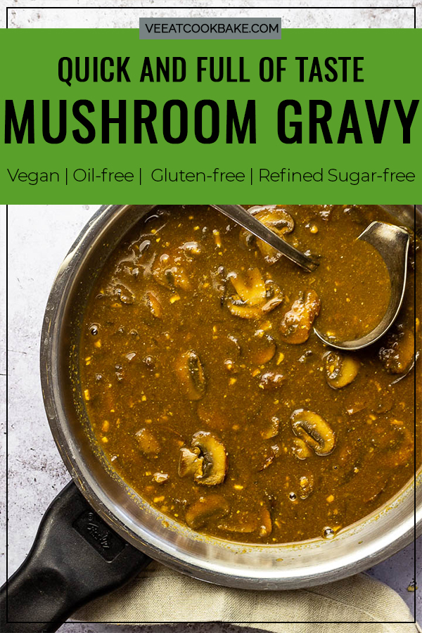 Quick and Fast Mushroom Gravy, with the authentic umami flavor like the traditional gravy