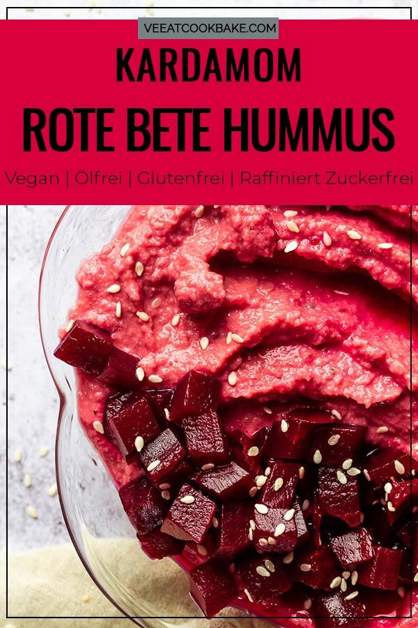 Super cremiger Kardamom Rote Beete Hummus - ein ölfreier und veganer Dip oder glutenfreier Brotaufstrich für auf dein Brot oder Sandwich