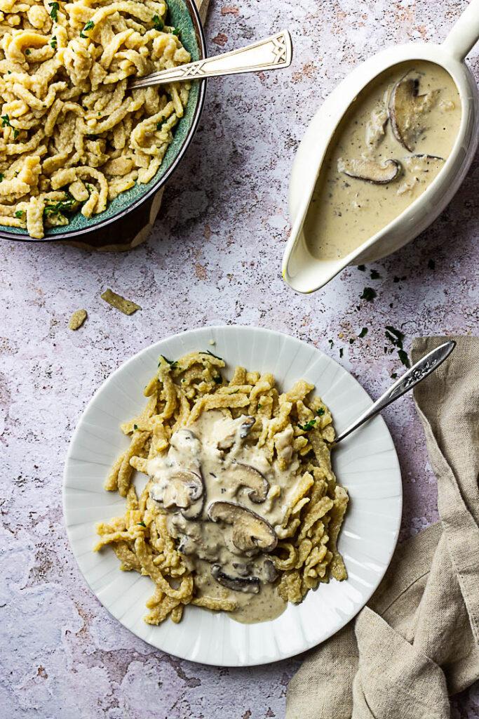 Vegan Mushroom Stroganoff (mushroom ragout) with homemade spätzle (egg noodles)