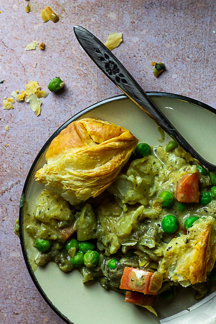 Vegan Chicken Pot Pie covered with Puff Pastry or homemade whole wheat short crust